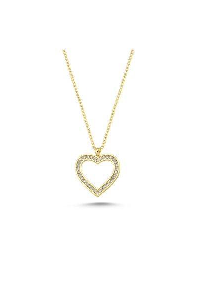 Dali's Jewelry Kalp Şekilli Kolye Ucu Beyaz Taşlı