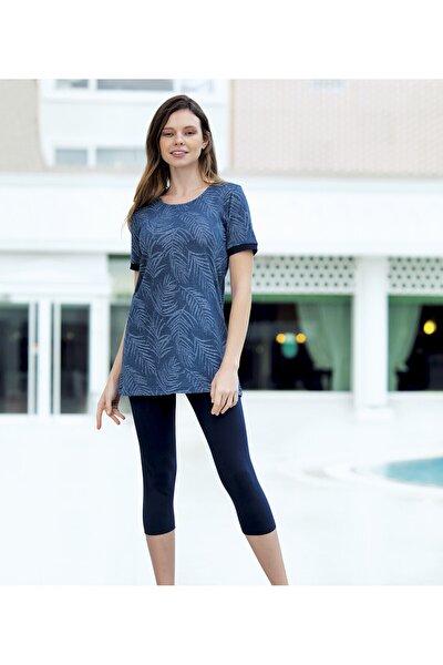 Kadın Mavi Spor Taytlı Tunik Takım