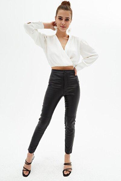 Kadın Siyah Fermuar Detaylı Şardonlu Dar Paça Pantolon