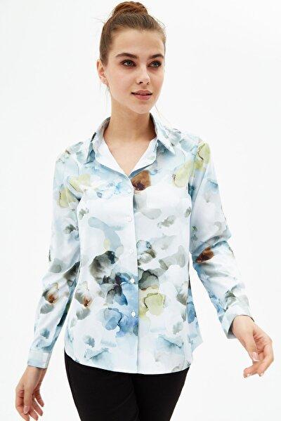 Kadın Desenli Regular Fit Uzun Kollu Gömlek P21s201-2054
