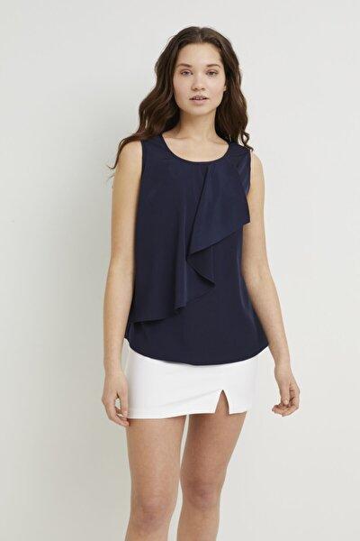 Kadın Lacivert Volanlı Bluz