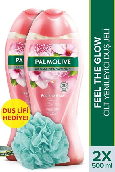 Aroma Sensations Feel Glow  Banyo ve Duş Jeli 500 ml x 2 Adet + Duş Lifi Hediye