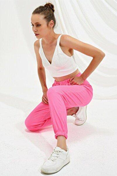 Kadın Neon Pembe Beli Ve Paçası Lastikli Eşofman Altı