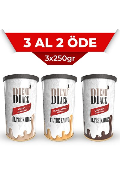 Filtre Kahve 3'lü Aromalı (irlanda Krema, Fındık, Çikolata) 3x250gr Teneke Kutu