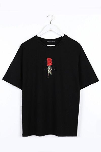 Gül Nakışlı Oversize Siyah Unisex Tshirt