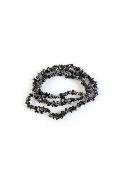 Kadın Siyah Doğal Obsidyen Taşı Kırık Dizi Kolye 80 Cm