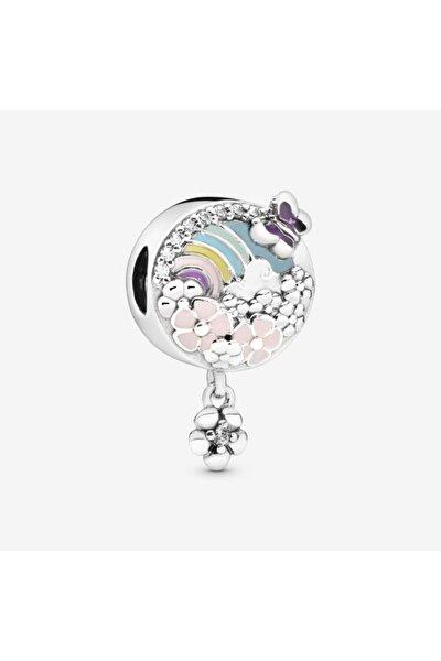 Gökkuşağı Ve Çiçek Gümüş Charm