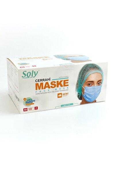 3 Katlı Tekli Poşet Ambalajlı Meltblown Telli Cerrahi Mavi Maske 50'li