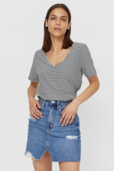Kadın Çizgili Basic V Yaka T-shirt