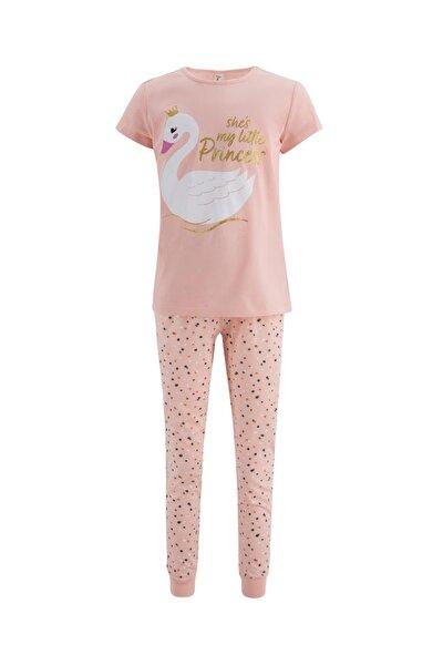 Kız Çocuk Prenses Kuğu Baskılı Kısa Kol Pijama Takımı T6619A621SP