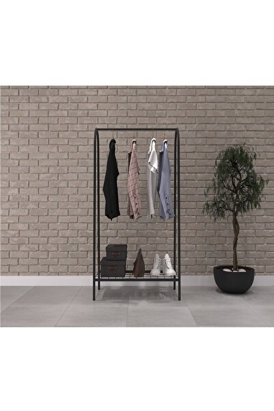 Metal 1 Raflı Metal Ayaklı Portmanto Ve Raflı Konfeksiyon Askılığı Metal Ayaklı Elbise Askılığı