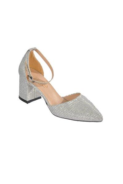 1903 Simli Gümüş Kadın Topuklu Ayakkabı