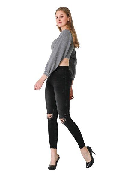 Kadın Siyah Yırtık Kot Pantolon