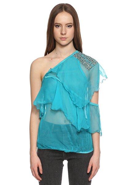 Kadın Mavi Tek Kollu Bluz