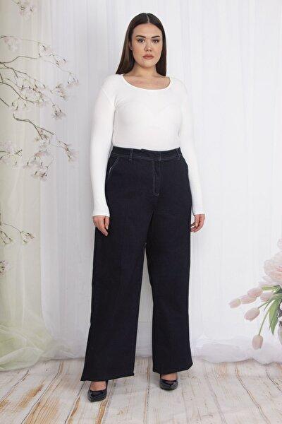 Kadın Lacivert Klasik Kesim Geniş Paçalı Yan Cepli Kot Pantolon 65N22348