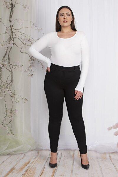 Kadın Siyah Süs Cepli Tayt Pantolon 65N22347