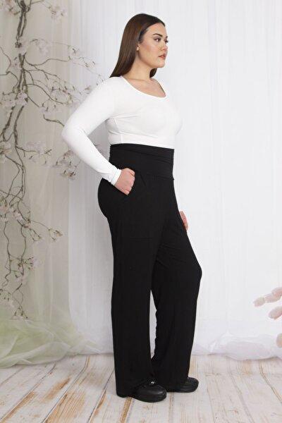 Kadın Siyah Yüksek Korsaj Kemerli Dıştan Takma Cepli Geniş Paçalı Pantolon 65N22345