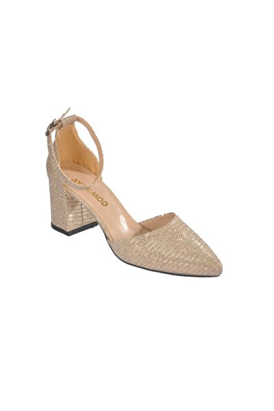 1903 Simli Altın Kadın Topuklu Ayakkabı