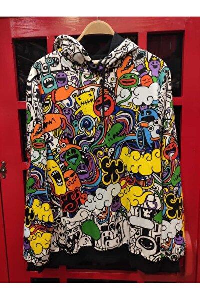 Unisex Renkli Moon Wing Art Özel Tasarım Sweatshirt