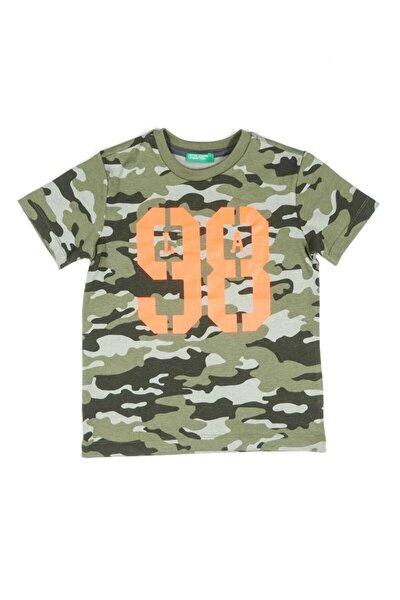 Haki Mix Çocuk Kamuflaj Desenli Tshirt