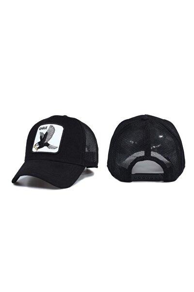 Unisex Siyah Hayvan Desenli Eagle Model Şapka