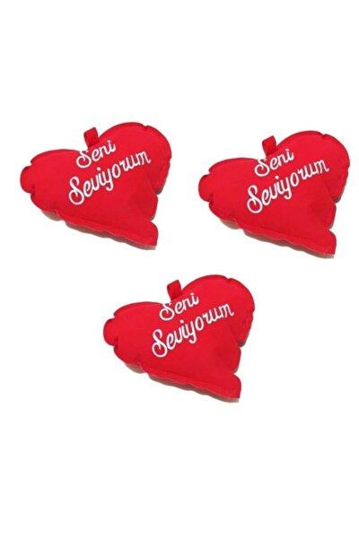 3 Adet Sevgililer Günü Seni Seviyorum Yazılı Küçük Kalpli Yastık 14 cm
