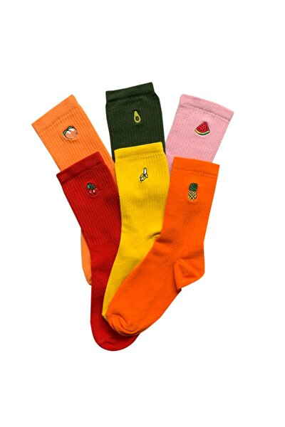 5'li Unisex Meyve Işlemeli Nakışlı Çorap
