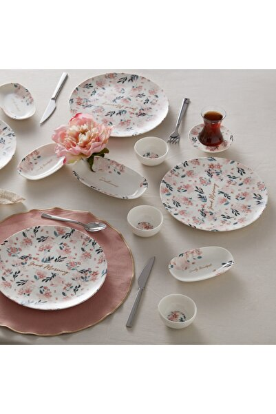 Lovely Pink 26 Parça 6 Kişilik Kahvaltı Takımı