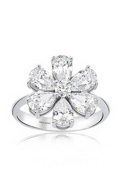 2 Karat Zirkon Beyaz Damla Taşlı, Unutma Beni Çiçek Gümüş Yüzük