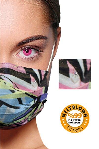 Diamond Raınbow Meltblown Filtreli 5 Farklı Desen 50 Adet 3 Katlı Kokusuz Cerrahi Yüz Maskesi