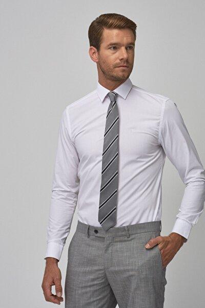 2 Al Sepette Ek %15 İndirim Beyaz Tailored Slim Fit Klasik Gömlek