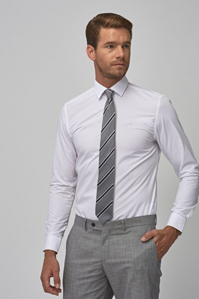 Erkek Beyaz Tailored Slim Fit Klasik Gömlek