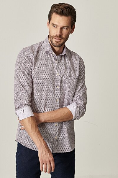 Erkek Bordo Tailored Slim Fit Dar Kesim Küçük İtalyan Yaka Baskılı Gömlek