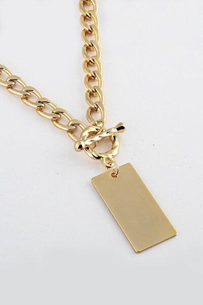 Kadın Altın Plakalı Zincir Kolye