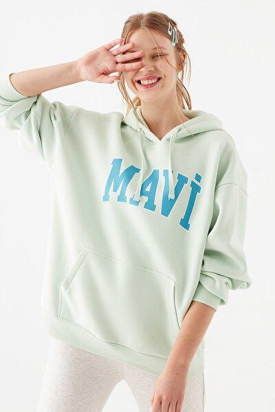 Kadın Logo Baskılı Yeşil Sweatshirt 1600361-34126