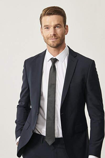 Erkek Lacivert Slim Fit Dar Kesim Düz Lacivert Su Geçirmez Nano Takım Elbise