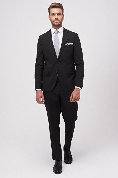 Erkek Siyah Regular Fit 4 Drop Takım Elbise
