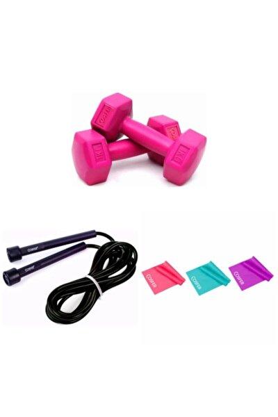 Pilates,egzersiz Seti( 1 Kg *2 Adet Dambıll,3'lü Pilates, Direnç Bandı 120*7,5 Cm,1 Adet Atlama Ipi)