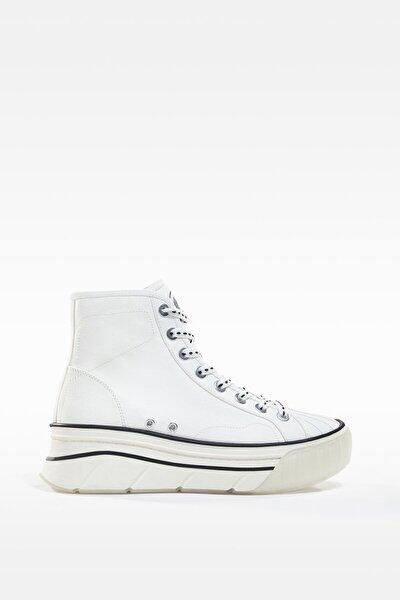 Kadın Beyaz Platform Yüksek Bilekli Kumaş Spor Ayakkabı