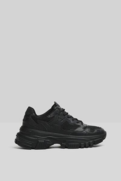 Erkek Siyah Kalın Tabanlı Fileli Spor Ayakkabı 12317760