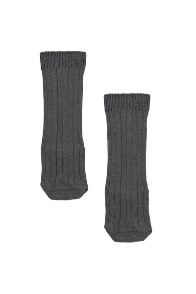 Unisex Çocuk Diz Altı Çorap - Organk Pamuk - Gri