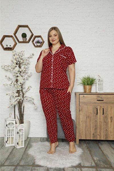 Büyük Beden Kalp Desenli Pijama Takımı