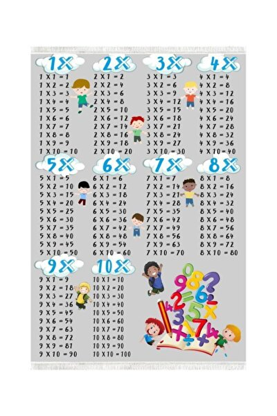 Çarpım Tablosu Dekoratif Yıkanabilir Çocuk Halısı 80x140 cm K387