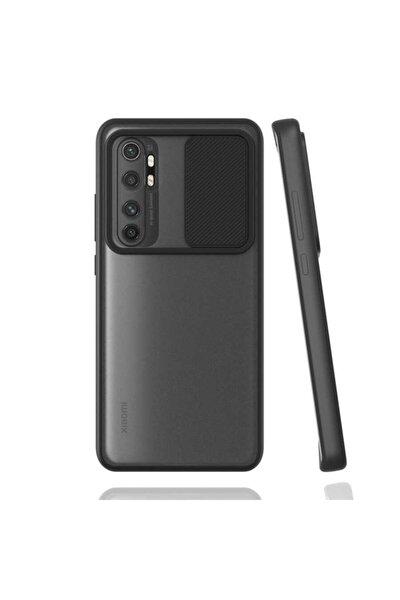 Xiaomi Mi Note 10 Lite Uyumlu Siyah Kamera Lens Korumalı Sürgülü Kılıf