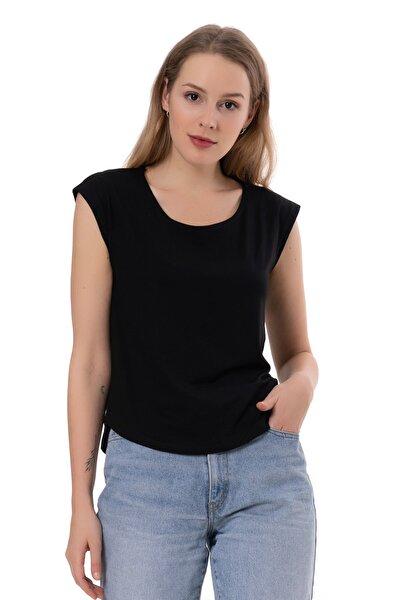 Sırtı Çapraz T-shirt - Siyah