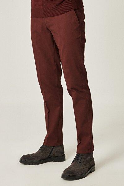 Erkek Bordo Slim Fit Desenli Pantolon
