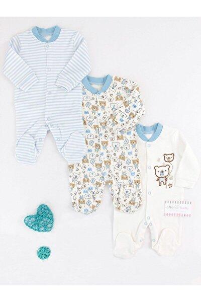 Mavi Erkek Bebek Sevimli Ayı 3'lü Tulum