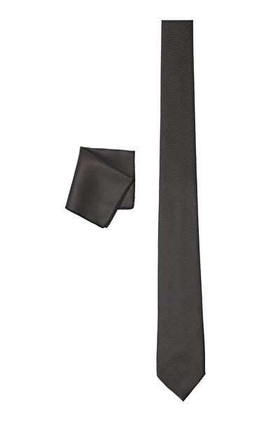Erkek Siyah Nano Kravat-Mendil Set