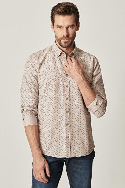 Erkek Bej Tailored Slim Fit Düğmeli Yaka Baskılı Gömlek