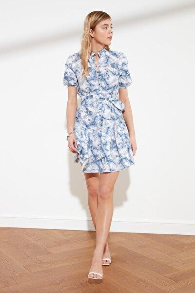 Çok Renkli Kuşaklı Düğmeli Geniş Kesim Elbise TWOSS21EL1551